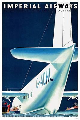 Mixed Media Royalty Free Images - Imperial Airways - Europe, Africa, India, Far East, Australia - Retro travel Poster - Vintage Poster Royalty-Free Image by Studio Grafiikka