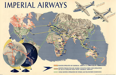 Mixed Media - Imperial Airways - Vintage Travel Advertising Poster - World Map by Studio Grafiikka