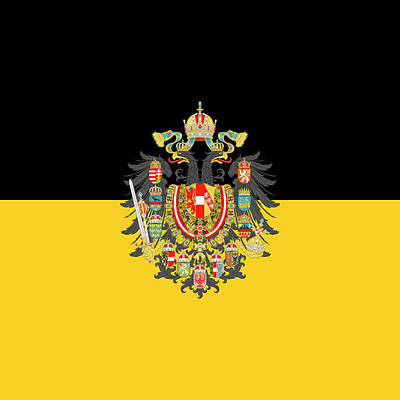 Digital Art - Habsburg Flag With Imperial Coat Of Arms 1 by Helga Novelli