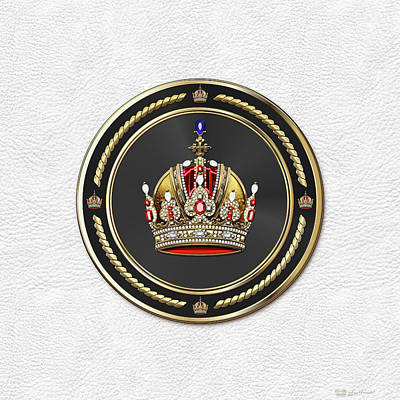 Imperial Crown Of Austria Over White Leather  Original by Serge Averbukh
