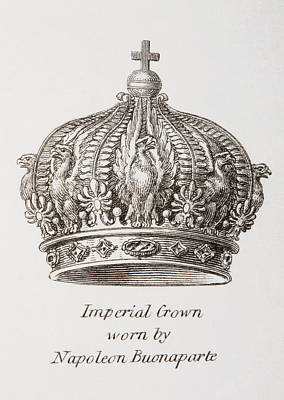 Napoleon Bonaparte Drawing - Imperial Crown Worn By Napoleon by Vintage Design Pics