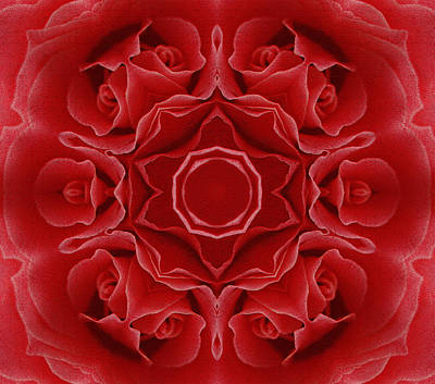 Daughter Gift Mixed Media - Imperial Red Rose Mandala by Georgiana Romanovna
