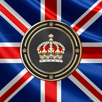 Digital Art - Imperial Tudor Crown Over Flag Of The United Kingdom by Serge Averbukh