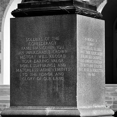 Confederate Monument Photograph - Imperishable by Patrick M Lynch