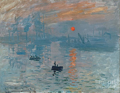 Orange Sun Painting - Impression Sunrise by Claude Monet
