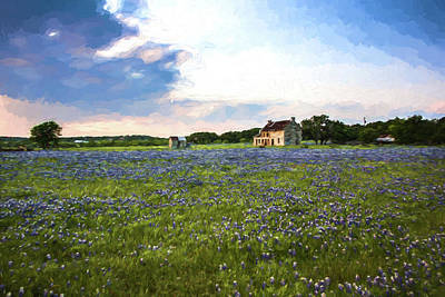 Impressionist Mixed Media - Impressionist Bluebonnet Field by JG Thompson