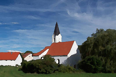 Digital Art - Impressionist Country Church by Shelli Fitzpatrick