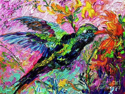 Painting - Impressionist Hummingbird Oil  Painting by Ginette Callaway