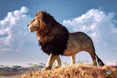 Male Lion Digital Art - Impressionist Lion by Daniel Eskridge