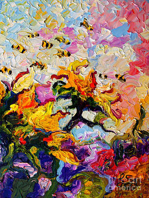 Painting - Impressionist Sunflowers And Bees by Ginette Callaway