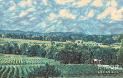 Photograph - Impressionist Verdant Vineyard- Arrington Vinyard by Luther Fine Art