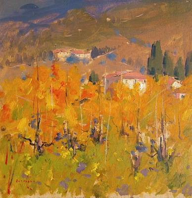 Quadro Firenze Painting - Impressionist Vineyard - Tuscany by Aldo Mazzi