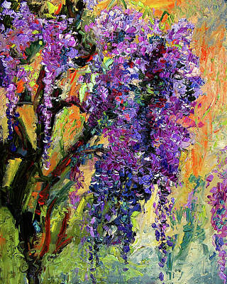 Painting - Impressionist Wisteria Flowers by Ginette Callaway