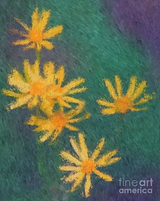 Art Print featuring the painting Impressionist Yellow Wildflowers by Smilin Eyes  Treasures