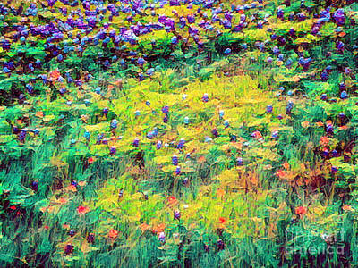Photograph - Impressionistic Abstract Of Texas Blue Bonnets by Frances Ann Hattier