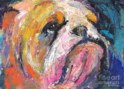 Dogs Drawing - Impressionistic Bulldog Painting by Svetlana Novikova