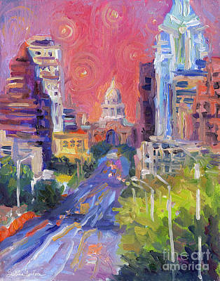 Landscapes Drawing - Impressionistic Downtown Austin City Painting by Svetlana Novikova