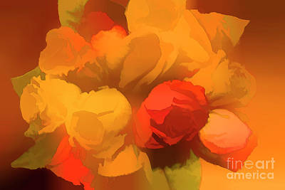 Impressionistic Gold Rose Bouquet Original by Linda Phelps