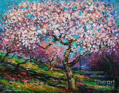 Acrylic Drawing - Impressionistic Spring Blossoms Trees Landscape Painting Svetlana Novikova by Svetlana Novikova