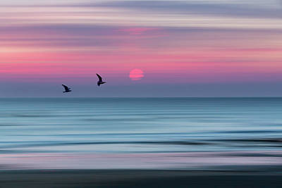 Abstract Beach Landscape Photograph - Impressionistic Sunset At Widemouth Bay, Bude, Cornwall, Uk.  by Maggie McCall