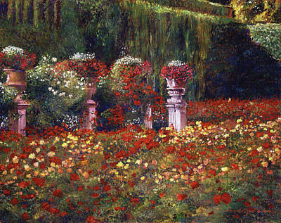 Impressions Of An English Rose Garden Art Print by David Lloyd Glover