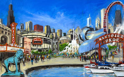 Wrigley Field Painting - Impressions Of Chicago by Robert Reeves