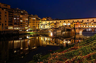 Digital Art - Impressions Of Florence - Ponte Vecchio Evening by Georgia Mizuleva