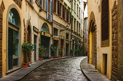 Impressions Of Florence - Walking On The Silver Street In The Rain Art Print