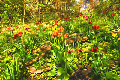 Painting - Impressions Of Gardens - The Untamed Tulip Forest In Spring by Georgia Mizuleva