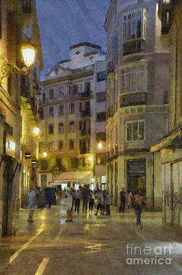 Digital Art - Impressions Of Malaga At Night by Mary Machare