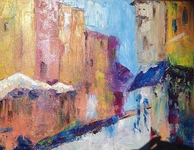 Cities Painting - Impressions Of Monte Martre, Paris by Roxy Rich