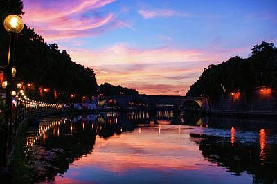 Photograph - Impressions Of Rome - Divine Sky And A Necklace Of Lights Along Tiber River by Georgia Mizuleva