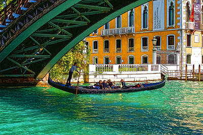 Digital Art - Impressions Of Venice - Ponte Dell Accademia Turquoise  by Georgia Mizuleva