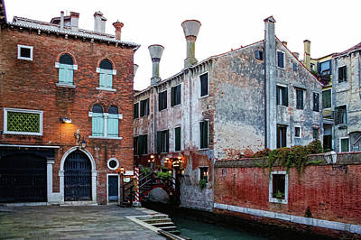 Venetian Doors Painting - Impressions Of Venice - Side Canal Palazzi And A Charming Christmassy Bridge by Georgia Mizuleva