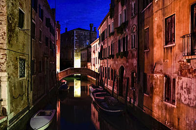 Impressions Of Venice - Wandering Around The Small Canals At Night Art Print by Georgia Mizuleva