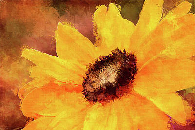 Digital Sunflower Mixed Media - Impressionistic Sunflower by Terry Davis