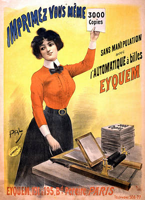 Mixed Media - Imprimez Vous Meme - Girl With Printing Machine - Vintage Advertising Poster by Studio Grafiikka