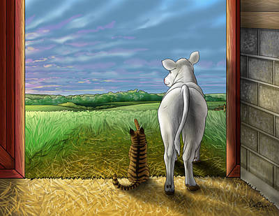 Cat Digital Art - Improbable-here Comes The Sun by Cara Bevan
