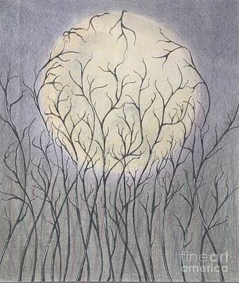 Drawing - Impulse Under The Moon by Chiyuky Itoga