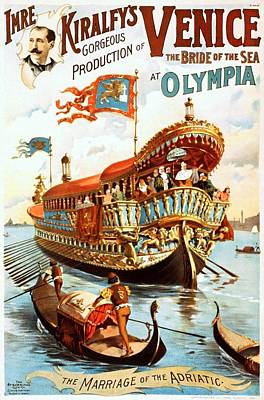 Painting - Imre Kiralfys Gorgeous Production Of Venice At Olympia, Performing Arts Poster, 1891 by Vintage Printery