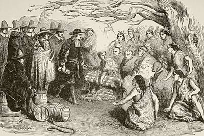 Pennsylvania Drawing - In 1682, William Penn Makes A Treaty by Vintage Design Pics