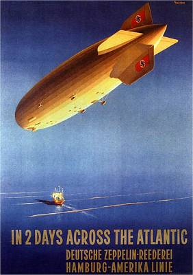 Airplane Mixed Media - In 2 Days Across The Atlantic - Hamburg-amerika Line - Retro Travel Poster - Vintage Poster by Studio Grafiikka