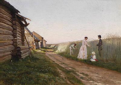 Cottage In A Cornfield Painting - In A Cornfield by Joseph Krachkovsky