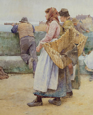 Shawl Painting - In A Cornish Fishing Village by Walter Langley
