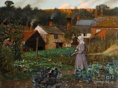 A Cottage Garden Painting - In A Cottage Garden by MotionAge Designs
