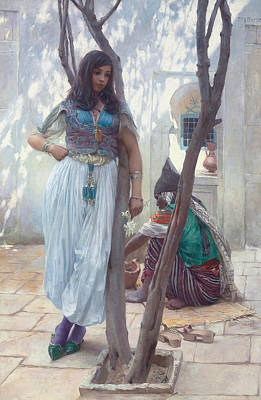 Painting - In A Courtyard, Tunis by Ferdinand Max Bredt