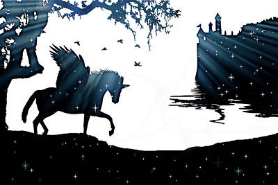 Black Unicorn Photograph - In A Dream, Unicorn, Pegasus And Castle Modern Minimalist Style by Stephanie Laird