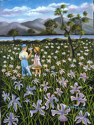 Painting - In A Field Of Wild Irises by Madeline  Lovallo