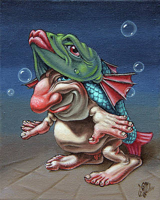 In A Fish Suit. Art Print
