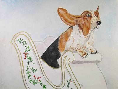 Basset Hound Painting - In A One Hound Open Sleigh by Carol Blackhurst